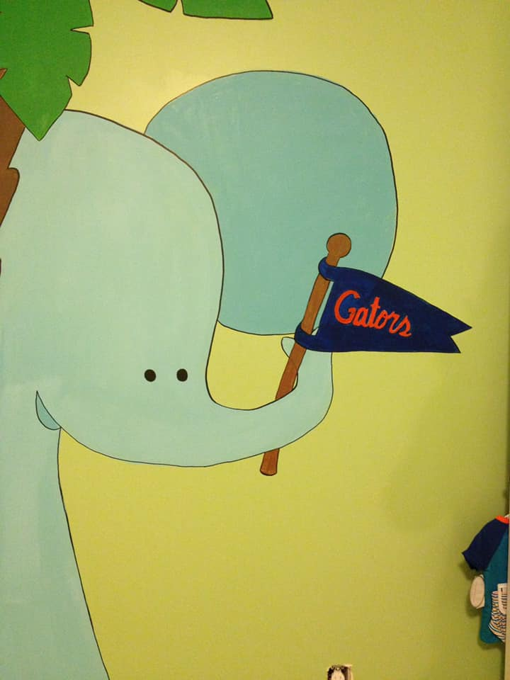 Florida Gators & Jungle themed kid's room murals