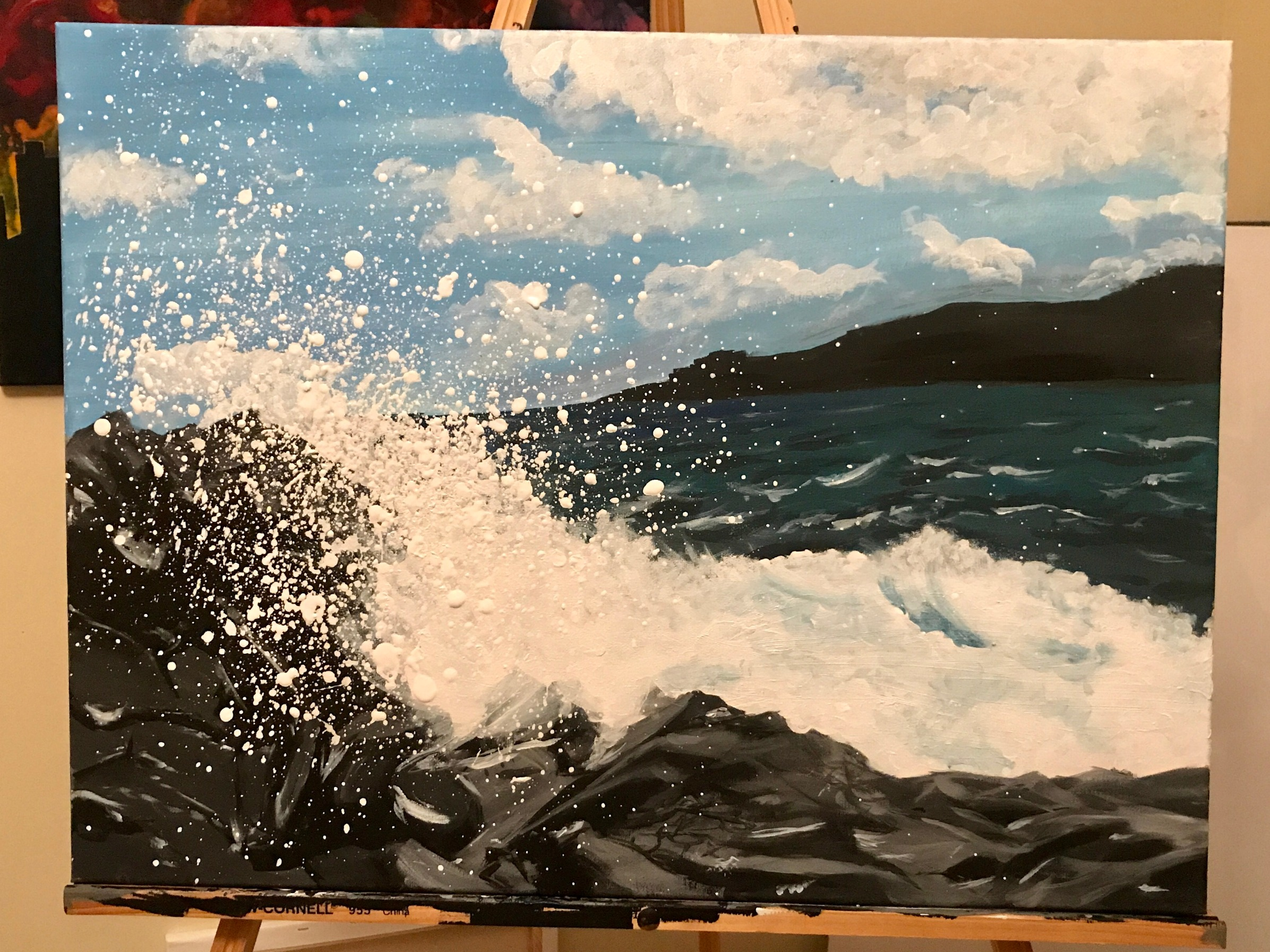 "Wave Crash in Hawaii | Acrylic on 18x24"" Canvas .jpg"