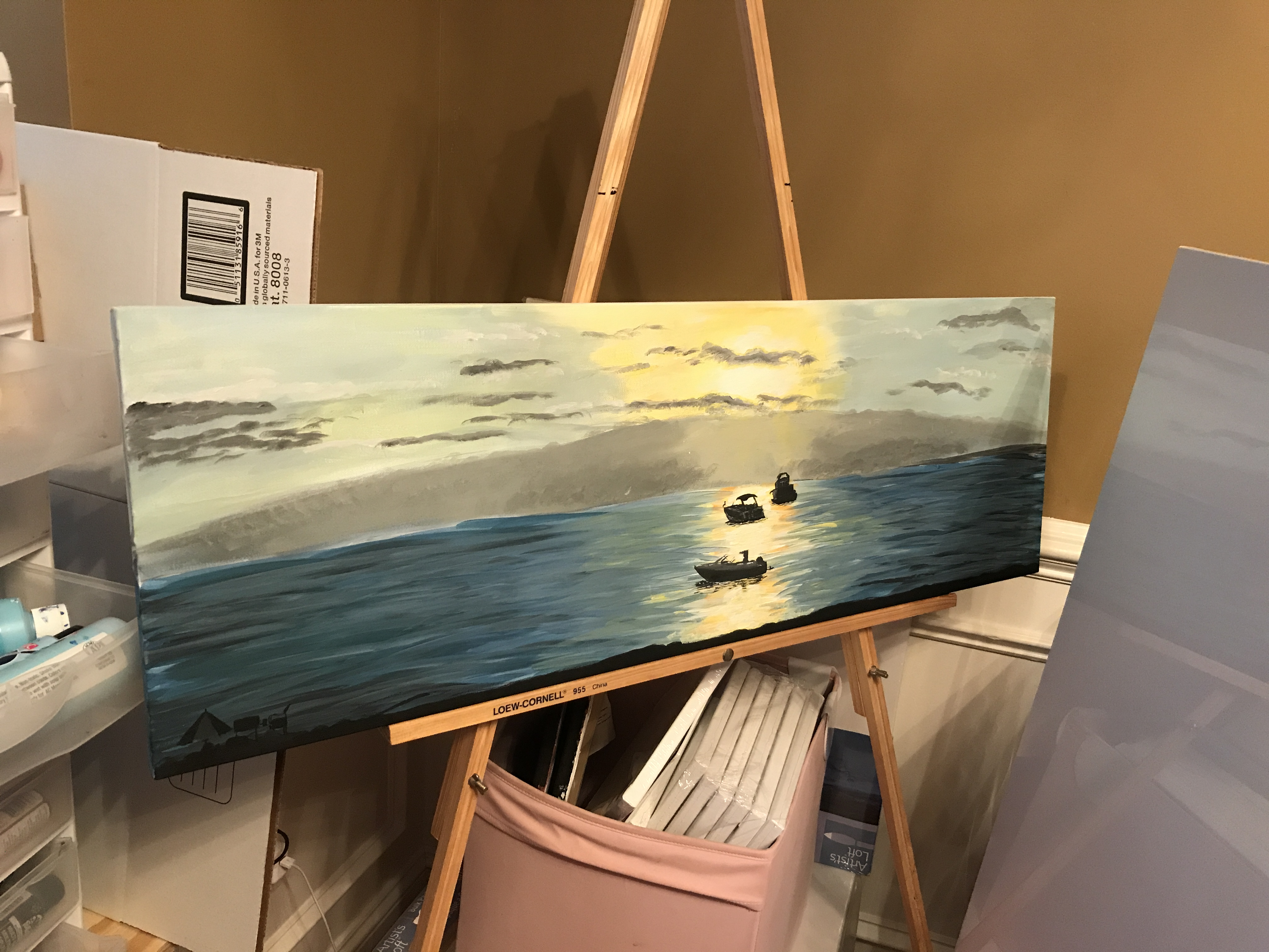 "Sylvan Beach | Acrylic on 24x48"" canvas"