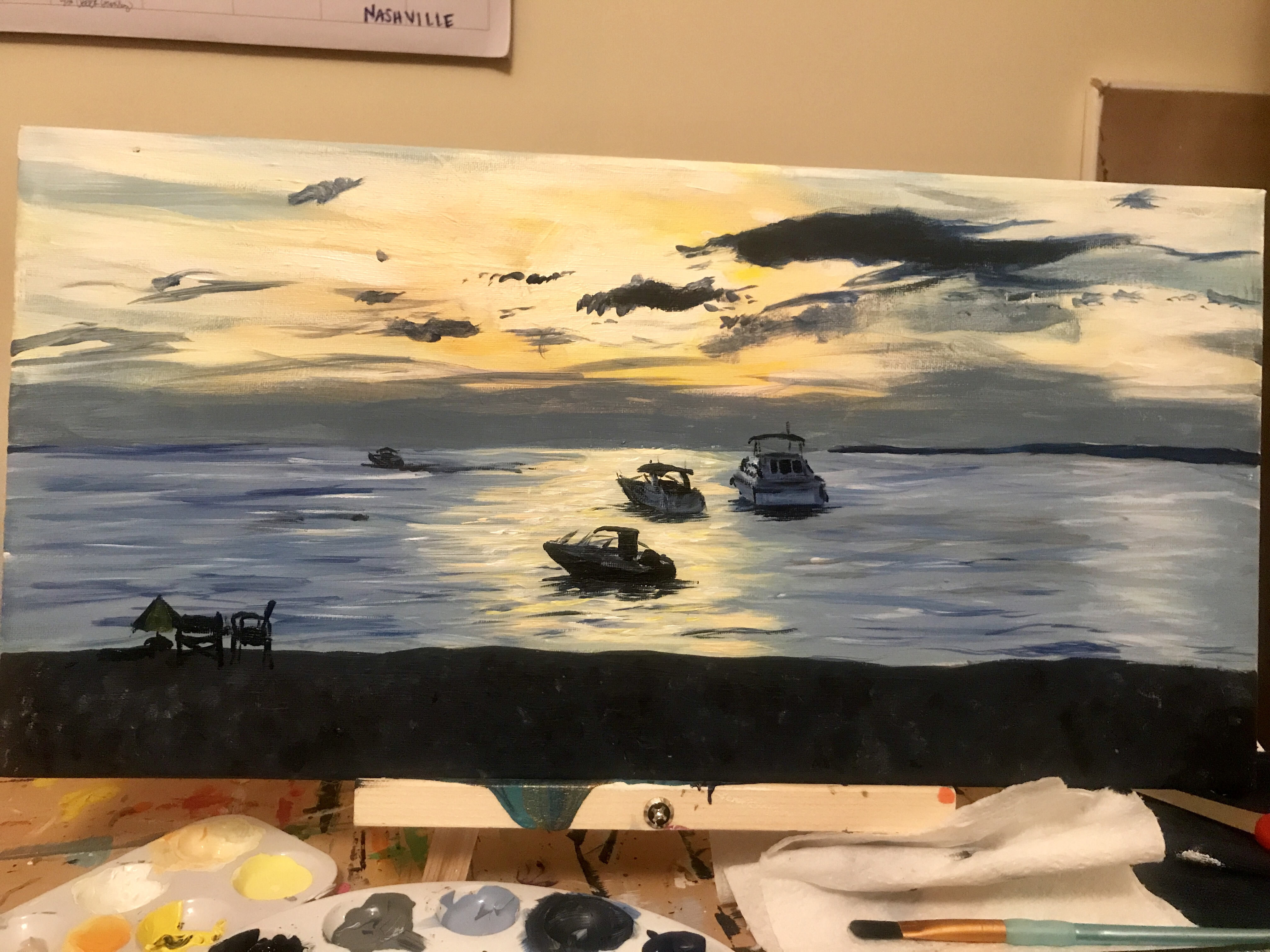 Sylvan Beach | Acrylic on 10x20 canvas