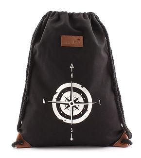 Turnbeutel Kompass Schwarz