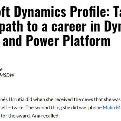 MSDynamicsWorld: Taking a unique path to a career in Dynamics 365 HR and Power Platform.