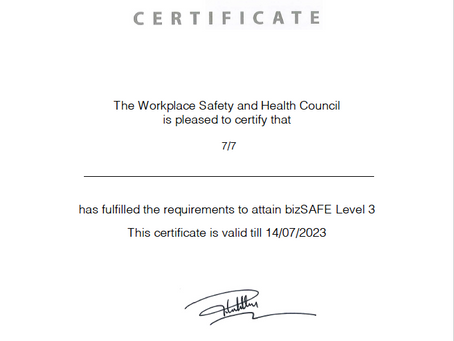 We are officially BizSafe 3