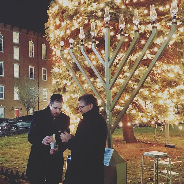 Rabbi Sruli and City Manager Tom Ambrosino at the 1st Annual Chelsea Public Menorah lighting! #chels