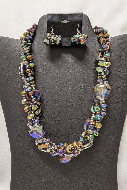 3 Row Rainbow Glass Bead Necklace Set