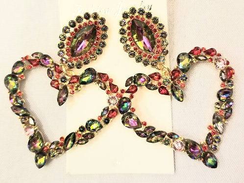 Crystal Heart Chandler Earrings