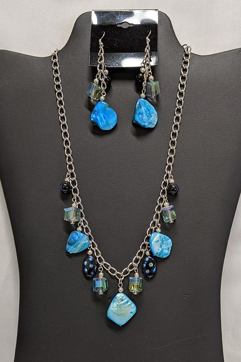 Blue Shell and Glass Bead Necklace set