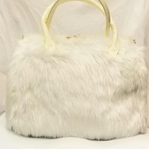 White Faux Fur Satchel Handbag