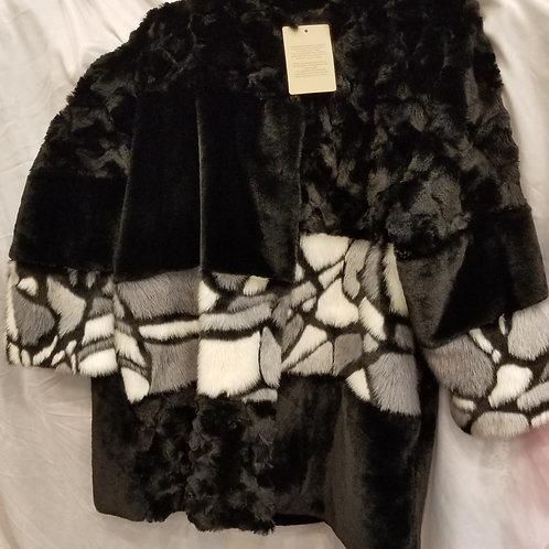Faux Fur Black and White Coat
