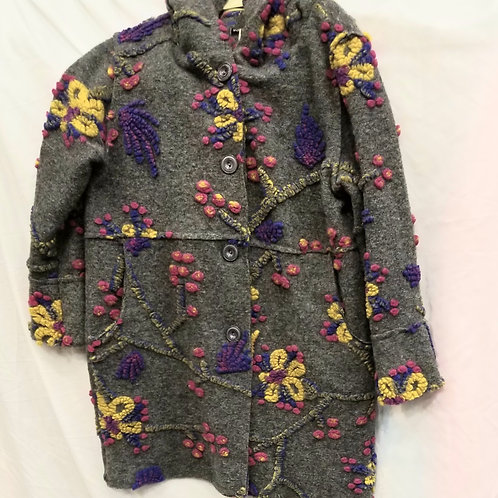 Grey Flowered Print Coat