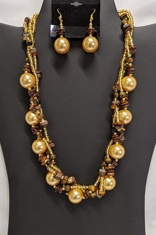 Tiger Eye Colored Pearl Necklace Set