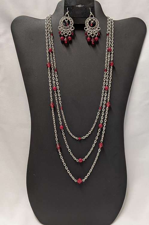 Red Glass and Silver Chain Necklace set