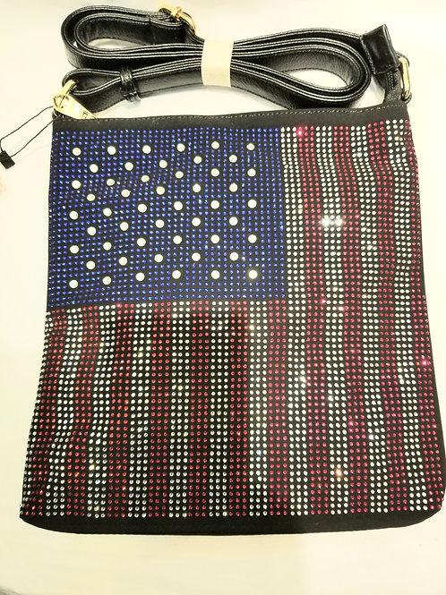 Rhinestone U.S. Flag Messenger Handbag