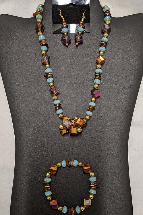 3 Piece Glass Beads Necklace Set