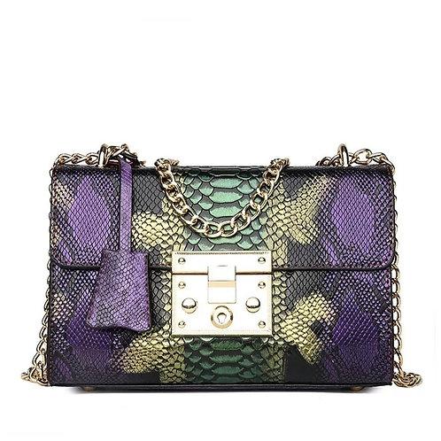 Purple Snake Print Handbag