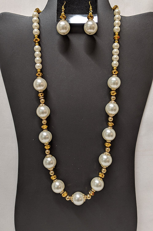 White and Gold Freshwater Pearl Set