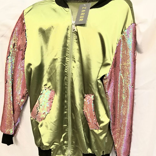 Olive Green and Pink Sequins Jacket