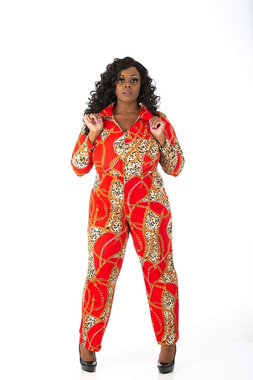 Womens Red & Gold Jumpsuit