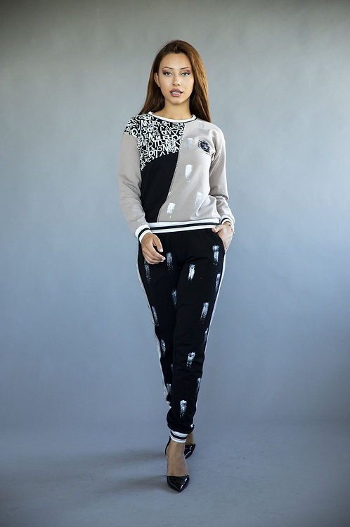 Patched Printed Two-piece Tracksuit