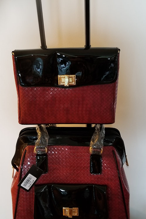 Red and Black Leather Luggage Set