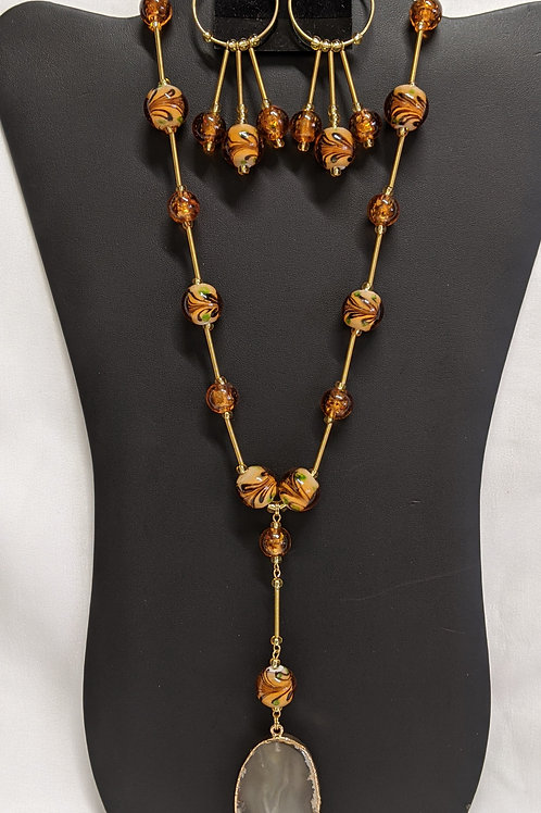 Amber Mosaic Glass Necklace Set