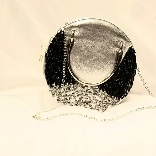 Silver and Black Crystal Handbag