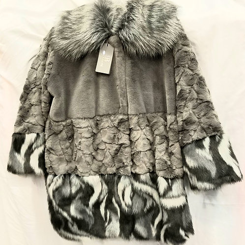 Grey and White  Faux Fur Collar Coat