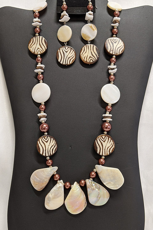 Zebra Print Pearl and Bone Necklace Set