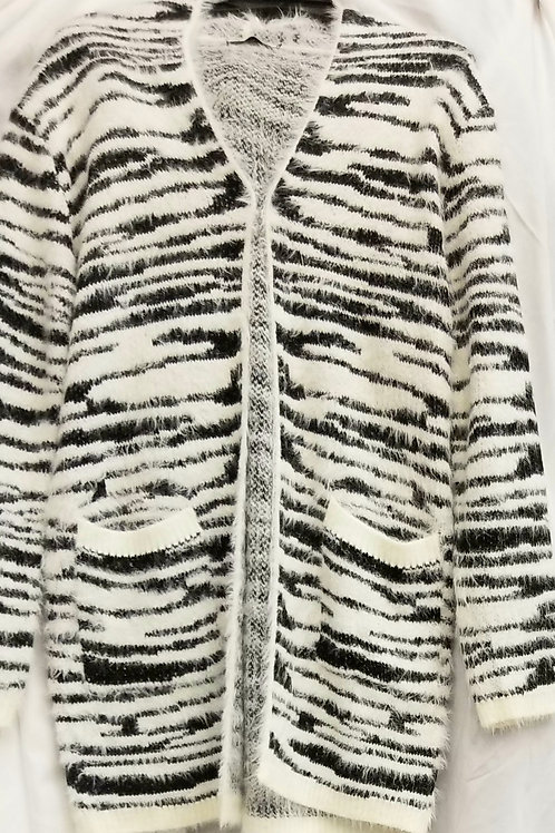 Black and White Zebra Print Cardigan