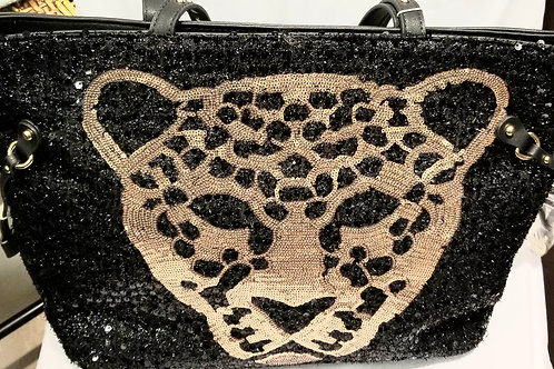 Black/Gold Sequins Panther Tote / Wallet