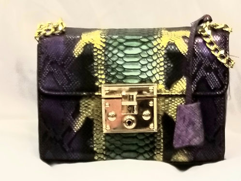 Purple and Gold Snake Print Purse