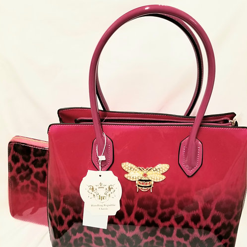 Fuchsia and Leopard Handbag with Bee
