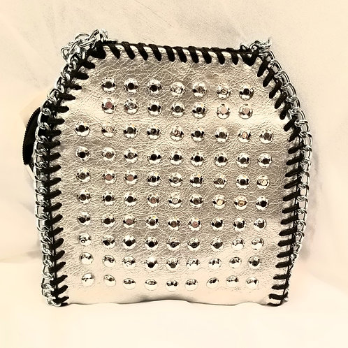 Small Silver Studded Handbag