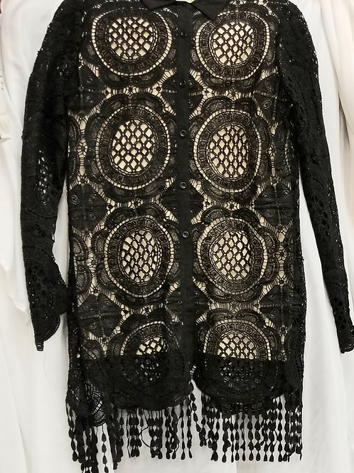 Black and Tan Fringe Shirt
