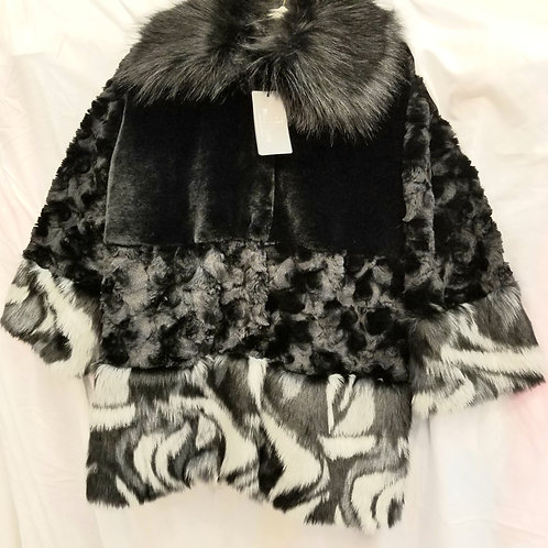 Black and White Faux Fur Collar Coat