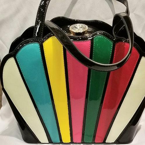Black Patent Leather Multi Colored Handbag
