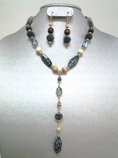 Ceramic, Glass & Wood Beaded Necklace Set 18""
