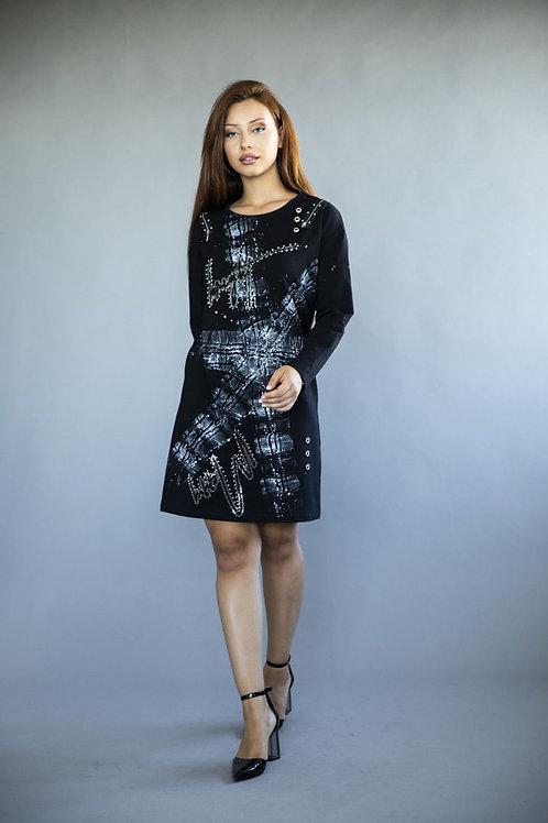 Silver Stain Print Dress