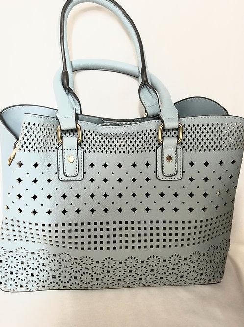 Light Blue Perforated Handbag