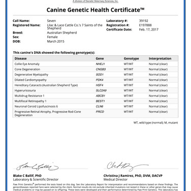 Seven's Genetic Health Test Certificate
