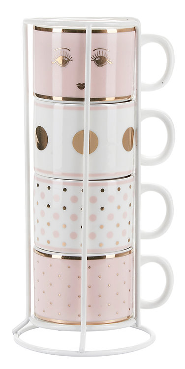 Miss Étoile - Espresso kaffekrus  m. holder 4 stk - white/rose/gold
