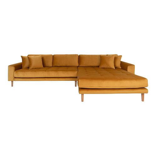 House Nordic - Lido Lounge sofa højrevendt i sennepsgul velour
