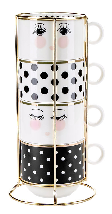 Miss Étoile -  Kaffekrus  m. holder 4 stk - white/black/gold
