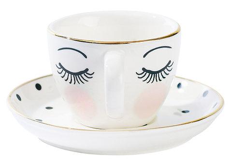 Miss Étoile - Icons espresso kop og underkop - White/Black/Rose