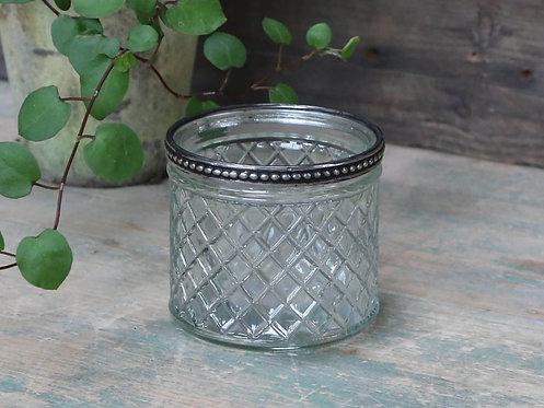 Chic Antique - Glas skjuler med perlekant og små tern