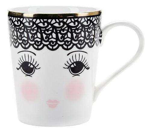 Miss Étoile - Lace kaffe krus med hank - White/Black/Rose