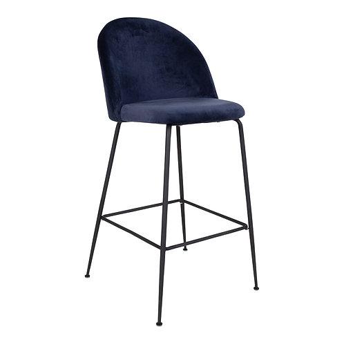 House Nordic - 2 stk. Lausanne bar stol - Velour - Blå