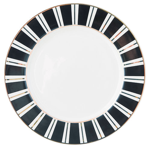 Miss Étoile - Line & dot tallerken stor - White/Black