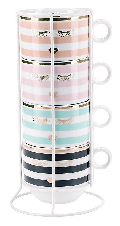 Miss Étoile -  Kaffekrus  m. holder 4 stk - white/stribe