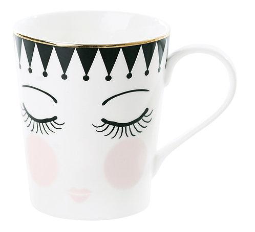 Miss Étoile - Icons kaffe krus med hank - White/Black/Rose